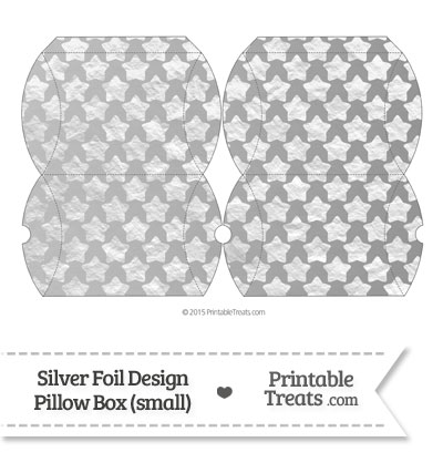 Small Silver Foil Stars Pillow Box from PrintableTreats.com
