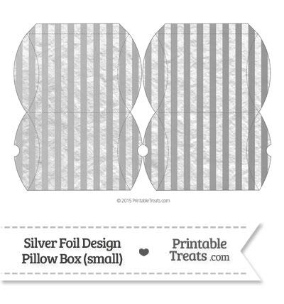 Small Silver Foil Stripes Pillow Box from PrintableTreats.com