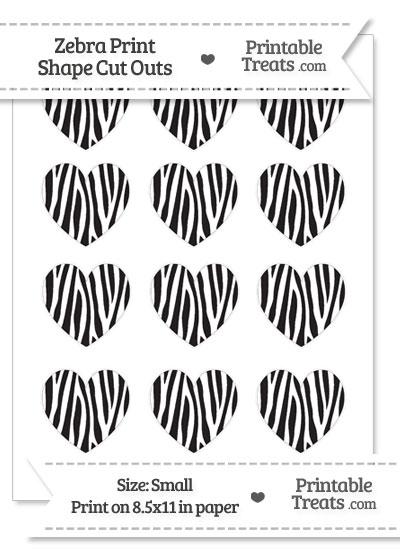 Small Skinny Zebra Print Heart Cut Outs from PrintableTreats.com