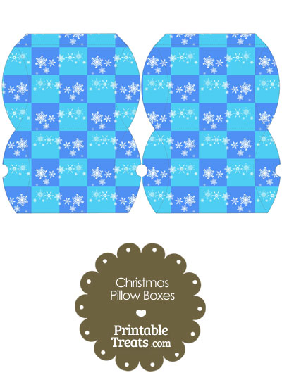 Small Snowflake Checkered Pillow Box from PrintableTreats.com