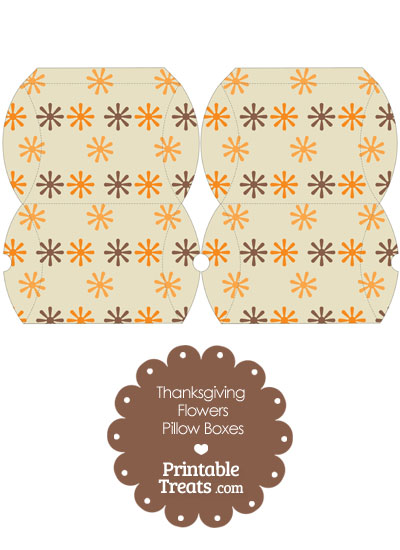 Small Thanksgiving Flowers Pillow Box from PrintableTreats.com