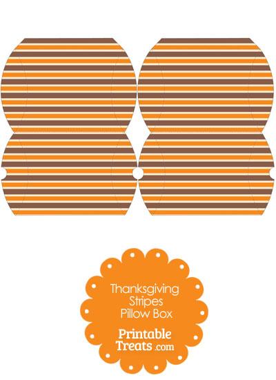 Small Thanksgiving Stripes Pillow Box from PrintableTreats.com