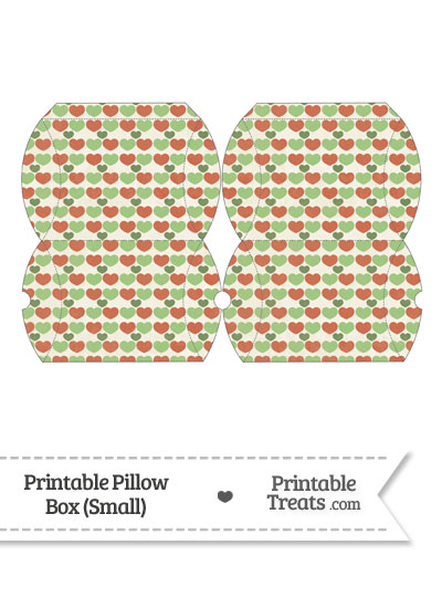 Small Vintage Christmas Hearts Pillow Box from PrintableTreats.com