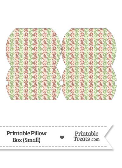 Small Vintage Christmas Swirls Pillow Box from PrintableTreats.com