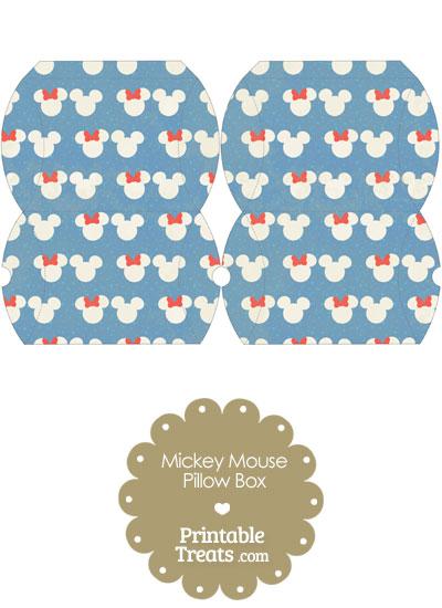 Small Vintage Minnie and Mickey Snow Theme Pillow Box from PrintableTreats.com