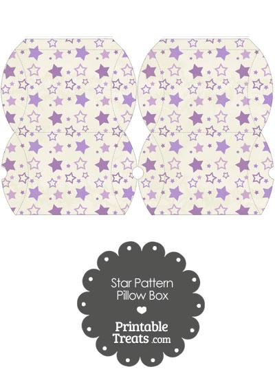 Small Vintage Purple Star Pattern Pillow Box from PrintableTreats.com