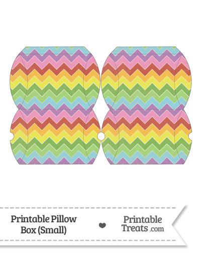 Small Vintage Rainbow Chevron Pillow Box from PrintableTreats.com