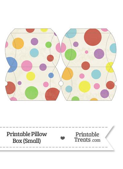 Small Vintage Rainbow Dots Pillow Box from PrintableTreats.com