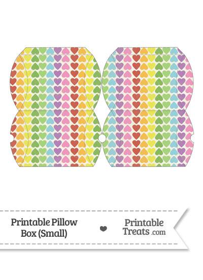 Small Vintage Rainbow Hearts Pillow Box from PrintableTreats.com