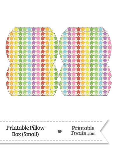 Small Vintage Rainbow Stars Pillow Box from PrintableTreats.com