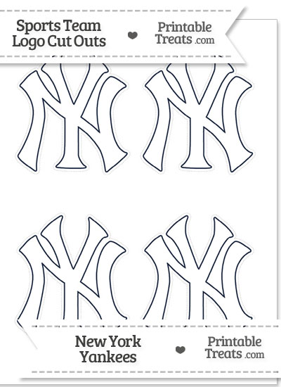 Small White New York Yankees Logo Cut Outs from PrintableTreats.com