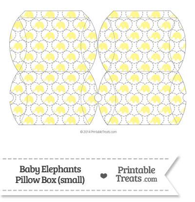 Small Yellow Baby Elephants Pillow Box from PrintableTreats.com