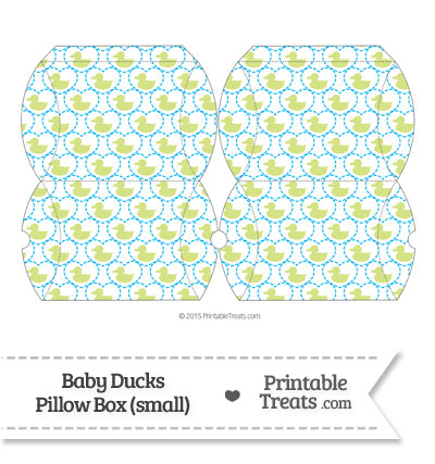 Small Yellow Green Baby Ducks Pillow Box from PrintableTreats.com