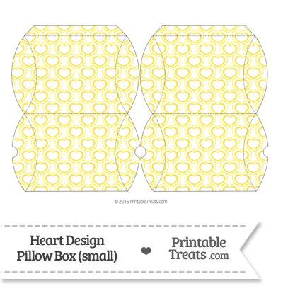 Small Yellow Heart Design Pillow Box from PrintableTreats.com