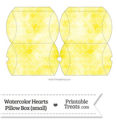 Small Yellow Watercolor Hearts Pillow Box from PrintableTreats.com