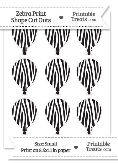 Small Zebra Print Balloon Cut Outs from PrintableTreats.com
