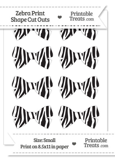 Small Zebra Print Bow Cut Outs from PrintableTreats.com