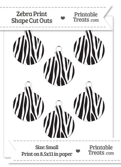 Small Zebra Print Christmas Ornament Cut Outs from PrintableTreats.com