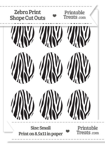 Small Zebra Print Easter Egg Cut Outs from PrintableTreats.com