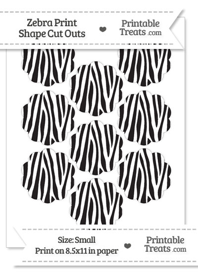 Small Zebra Print Flower Circle Cut Outs from PrintableTreats.com