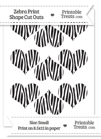 Small Zebra Print Heart Cut Outs from PrintableTreats.com
