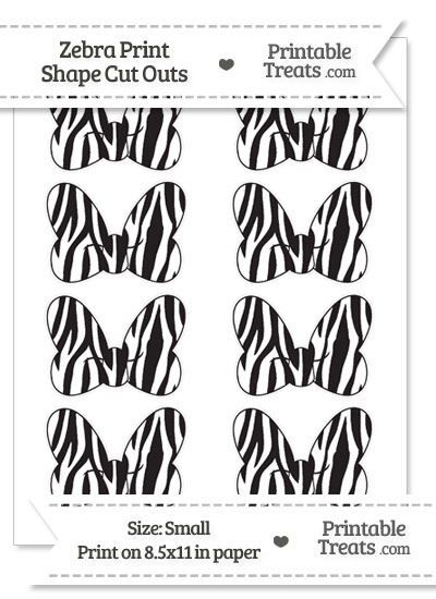 Small Zebra Print Minnie Mouse Bow Cut Outs from PrintableTreats.com