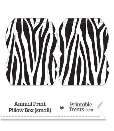 Small Zebra Print Pillow Box from PrintableTreats.com