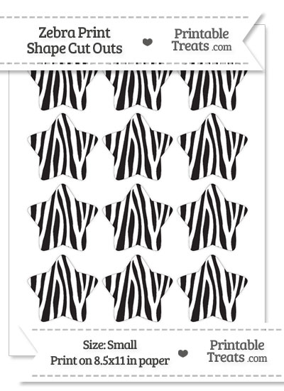 Small Zebra Print Star Cut Outs from PrintableTreats.com