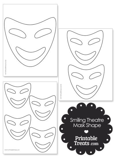 Smiling Theatre Mask Template from PrintableTreats.com