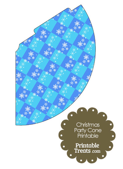 Snowflake Checkered Party Cone from PrintableTreats.com