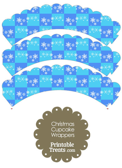 Snowflake Checkered Scalloped Cupcake Wrappers from PrintableTreats.com