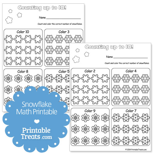 snowflake math printable