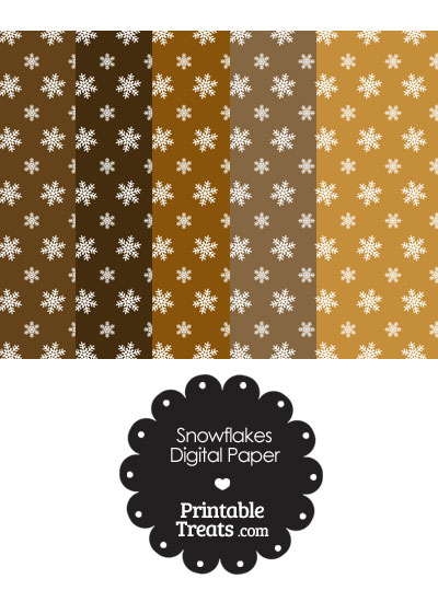 Snowflake Scrapbook Paper with Brown Background from PrintableTreats.com
