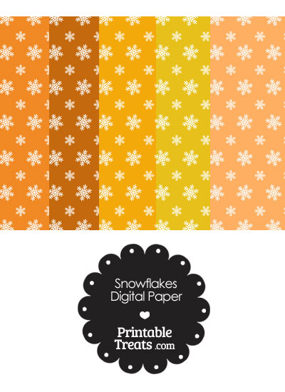 Snowflake Scrapbook Paper with Orange Background from PrintableTreats.com