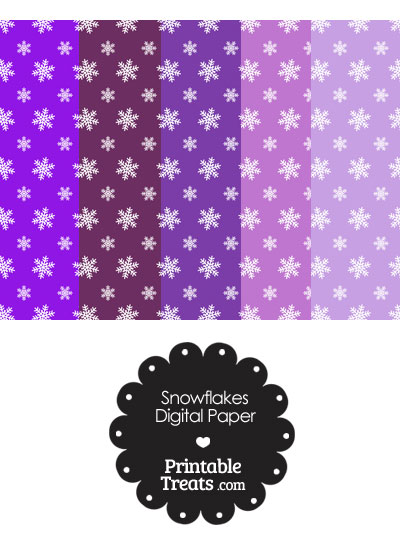 Snowflake Scrapbook Paper with Purple Background from PrintableTreats.com