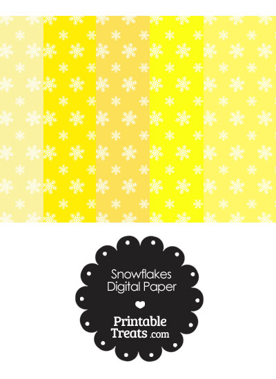 Snowflake Scrapbook Paper with Yellow Background from PrintableTreats.com