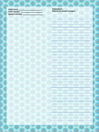snowflake stationery paper for sponsored child