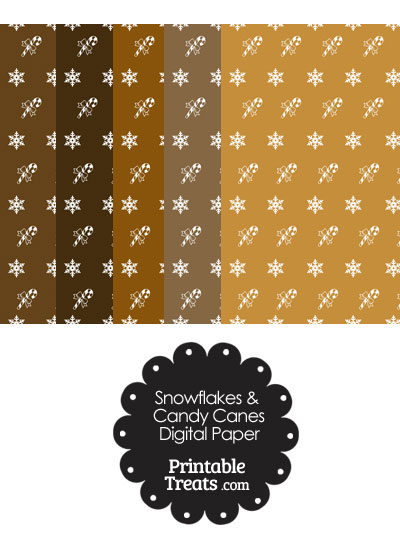 Snowflakes and Candy Canes Scrapbook Paper in Brown from PrintableTreats.com