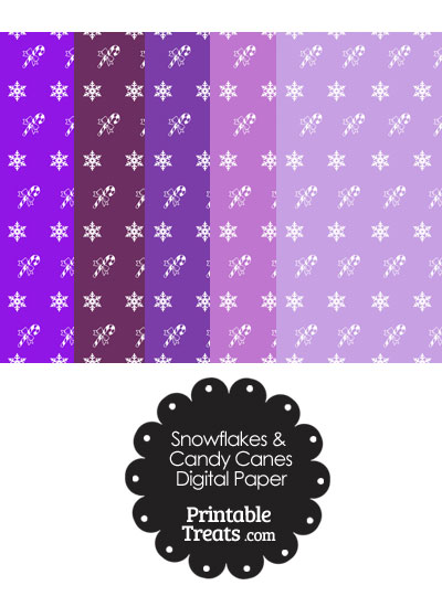 Snowflakes and Candy Canes Scrapbook Paper in Purple from PrintableTreats.com