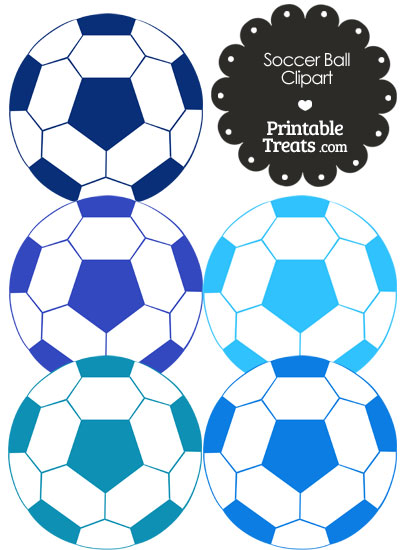 Soccer Ball Clipart in Shades of Blue from PrintableTreats.com