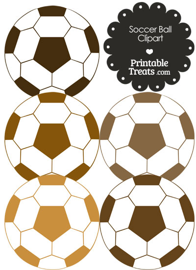 Soccer Ball Clipart in Shades of Brown from PrintableTreats.com