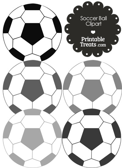 Soccer Ball Clipart in Shades of Grey from PrintableTreats.com