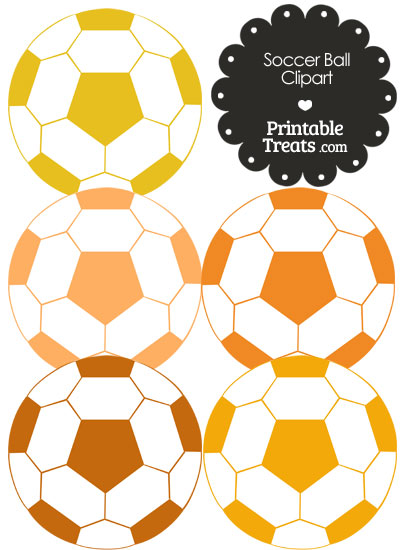 Soccer Ball Clipart in Shades of Orange from PrintableTreats.com