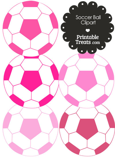 Soccer Ball Clipart in Shades of Pink from PrintableTreats.com
