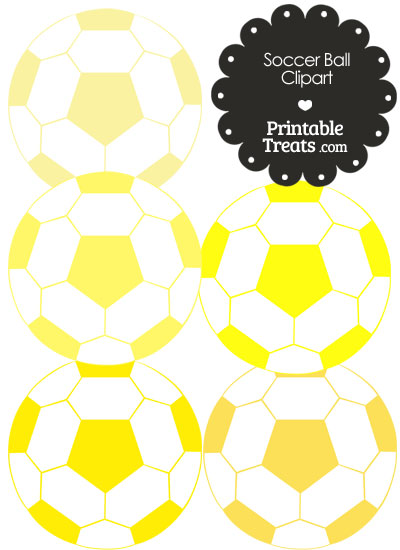 Soccer Ball Clipart in Shades of Yellow from PrintableTreats.com