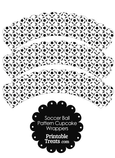 Soccer Ball Pattern Scalloped Cupcake Wrappers from PrintableTreats.com