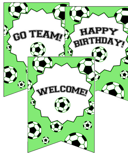 soccer party welcome signs