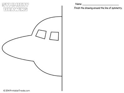 spaceship symmetry drawing worksheet