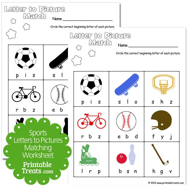sports letters to pictures matching worksheet