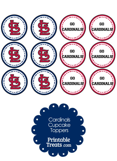St Louis Cardinals Cupcake Toppers from PrintableTreats.com
